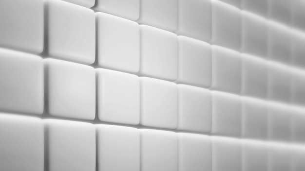 De witte rond gemaakte vierkante 3d muurachtergrond geeft terug