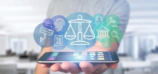De wolk van de zakenmanholding van rechtvaardigheid en wetspictogrambel met gegevens het 3d teruggeven