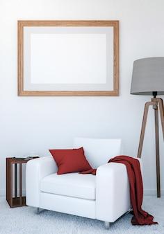 De woonkamer binnenlandse achtergrond van de luxe met onecht omhoog leeg affichekader, het 3d teruggeven