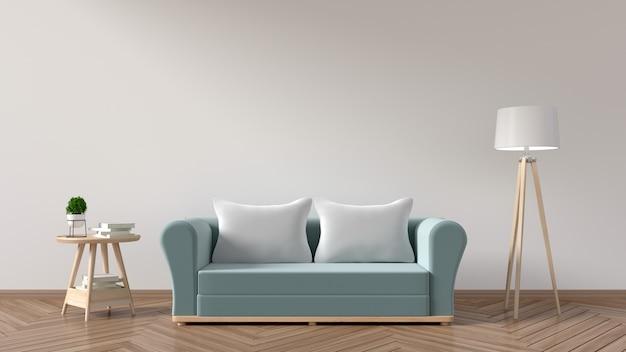 De woonkamer heeft een sofa blauw, kussens, lampen, boeken en een vaas met bloemen