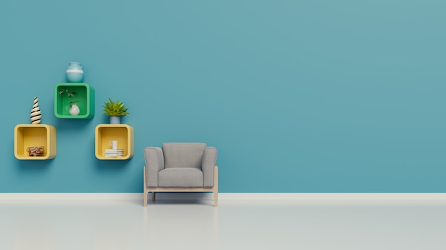De woonkamer met leunstoelen en planken in de ruimte de muurblauw op witte achtergrond