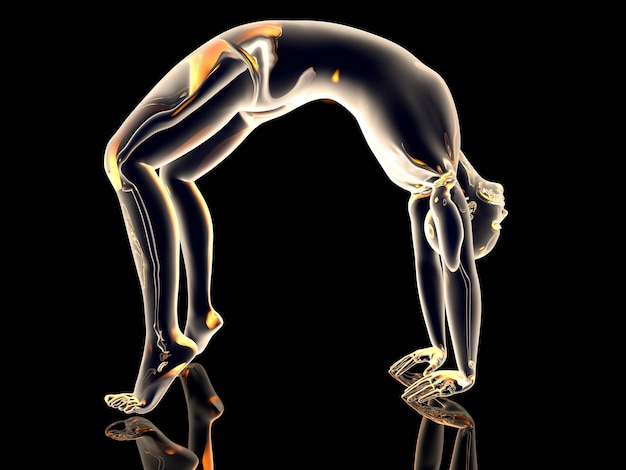 De yoga-pose met omgekeerde boog (urdhva dhanurasana). 3d-afbeelding.