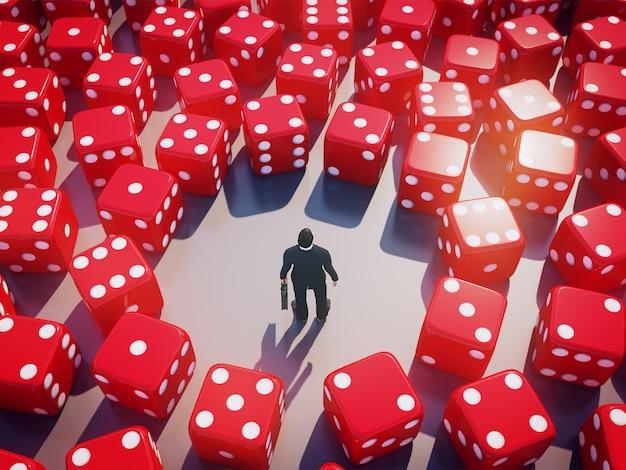 De zakenman die zich met rond het rollen bevinden dobbelt, bedrijfsrisicoconcept. 3d-weergave