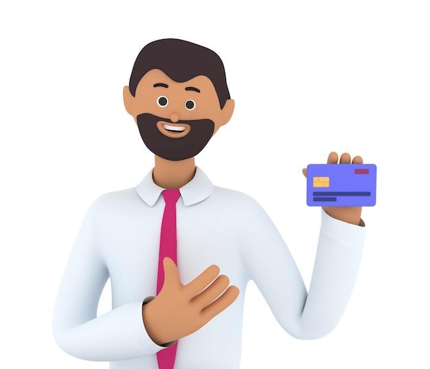 De zakenman houdt creditcard vast. financieel succes concept.