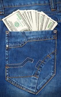 De zaktextuur en dollars van jeans