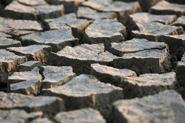 De zeer droge gebarsten aarde grijs