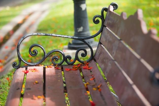 De zijkant, de stoel in het park met bloemen die op de stoel vallen