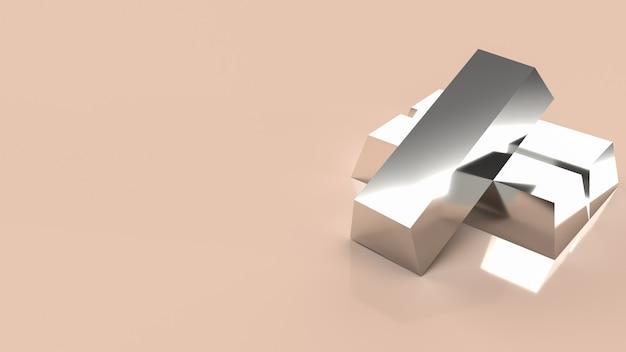 De zilveren balk voor achtergrond zakelijke inhoud 3d renderin