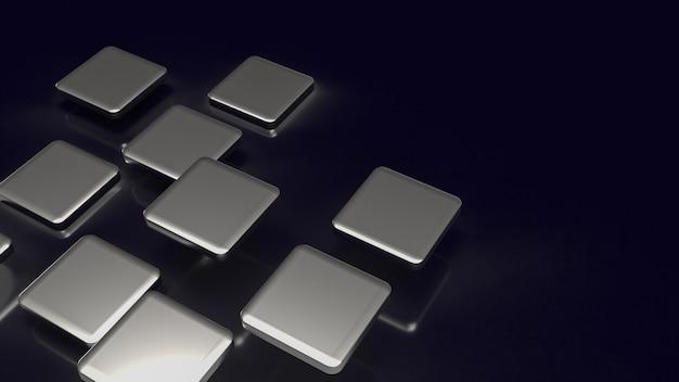 De zilveren plaat op zwarte achtergrond voor abstracte inhoud 3d-rendering