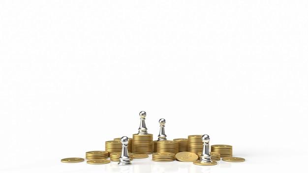 De zilveren schaken en gouden munten op witte achtergrond voor bedrijfsconcept 3d-rendering