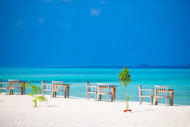 De zomer lege openluchtkoffie dichtbij overzees op het strand