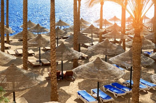 De zomerchaise-lounges onder een paraplu op zandig overzees strand in hotel