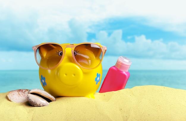 De zomerspaarvarken met zonnebril op het strand