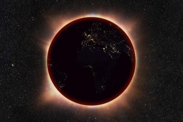 De zonsverduistering van de planeet aarde