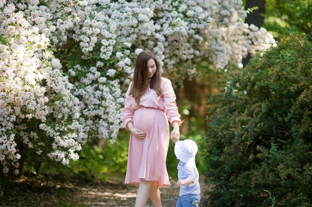 De zwangere vrouw in de appelboomgaard houdt buik en appel tot bloei komende tak