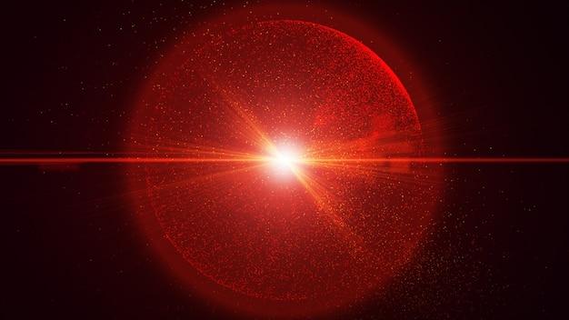 De zwarte achtergrond heeft een klein rood stofdeeltje dat schijnt in een cirkelvormige, explosieve lichtstraal.