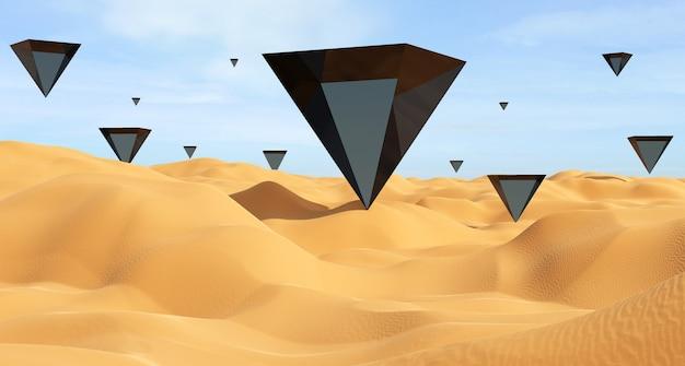 De zwarte driehoeken in de woestijn 3d render