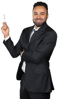 De zwarte mensenzakenman die presentatie maakt isoleert op wit