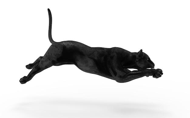 De zwarte panter isoleert op witte achtergrond, zwarte tijger, 3d illustratie, 3d geef terug