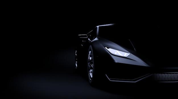 De zwarte sportwagen op donkere 3d achtergrond geeft terug