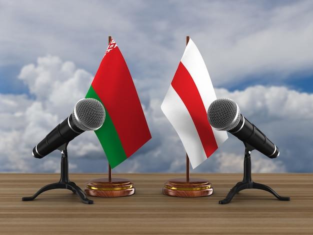 Debat in de wit-russische republiek op een witte achtergrond. geïsoleerde 3d-afbeelding