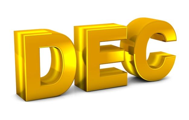 December goud 3d-tekst december maand afkorting geïsoleerd op een witte achtergrond. 3d render.