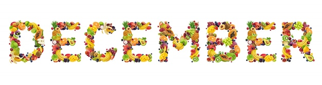 December-woord gemaakt van tropische en exotische vruchten