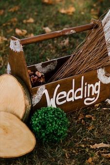 Decor voor huwelijksceremonie, herfst, rustiek