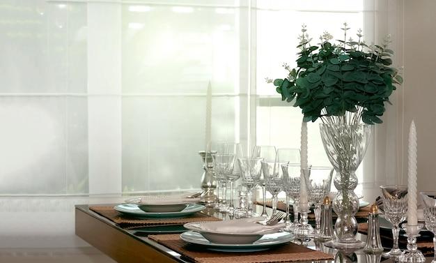 Decoratie eettafel met glas, candelstick schotel en bloem