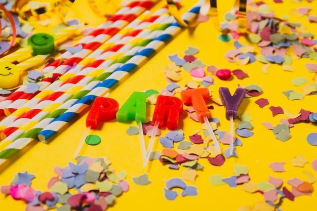 Decoratie voor een feestje en het woord