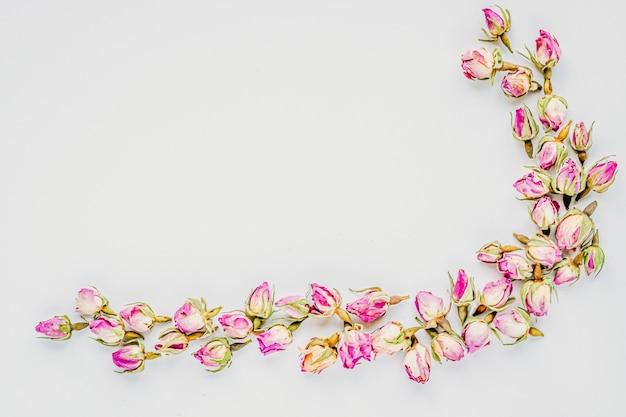 Decoratief hoekkader dat van achtergrond van knoppen de droge rozen wordt gemaakt