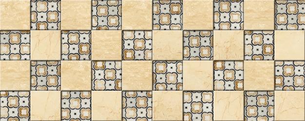Decoratief mozaïek gemaakt van steen. marmer en graniettegels met bloemmotieven.