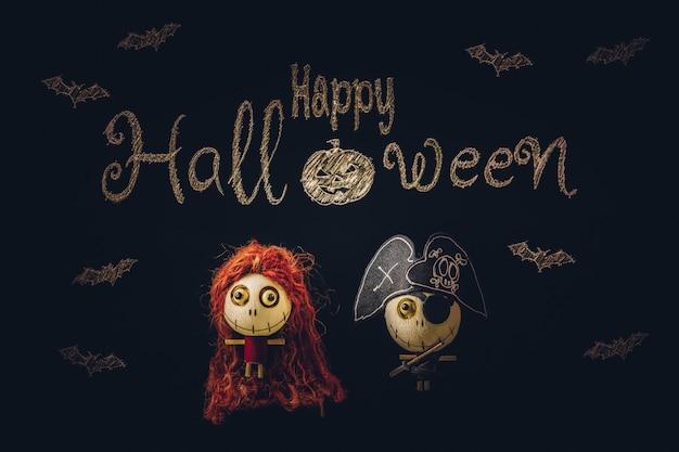 Decoratief spookspeelgoed voor halloween-achtergrond met exemplaarruimte