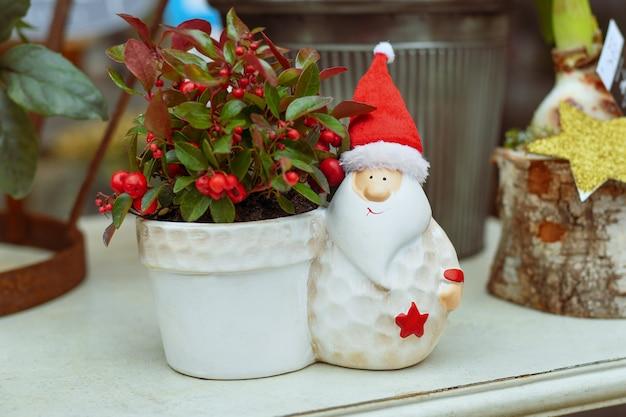 Decoratiepot met kerstman en gaultheria procumbens - wintergreen