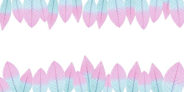 Decoratieve achtergrond van roze en blauwe bladeren aan de boven- en onderkant van de pagina