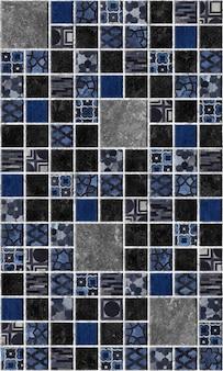 Decoratieve donkere tegels met patronen en textuur van natuursteen.