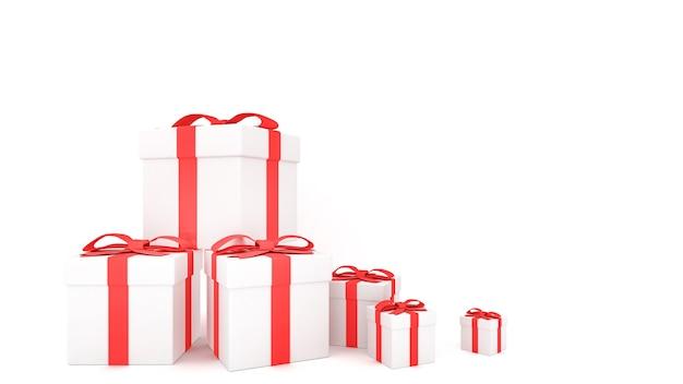 Decoratieve geschenkdozen met rode strikken en linten, 3d-rendering.