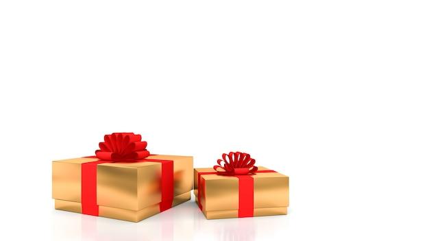 Decoratieve gouden geschenkdozen met rode linten met witte achtergrond.