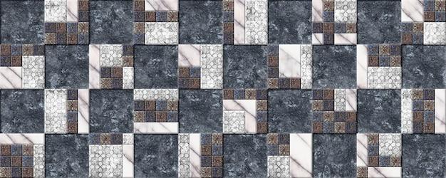 Decoratieve keramische tegels met reliëf, natuursteentextuur en patroon.