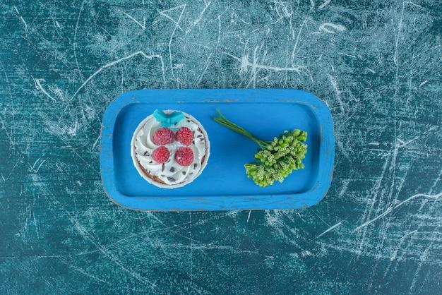 Decoratieve plant en een cupcake op een blauwe schotel op blauwe achtergrond. hoge kwaliteit foto