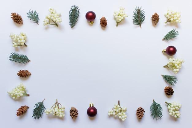 Decoratieve rand mock up gemaakt van kerst elementen