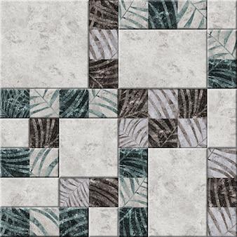 Decoratieve reliëf keramische tegels met een patroon van tropische bladeren.