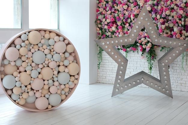 Decoratieve ster met led retro lampen en rond ornament
