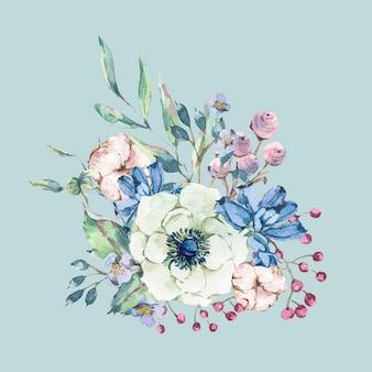 Decoratieve vintage aquarel natuurlijke wenskaart met anemoon, wilde bloemen, katoen