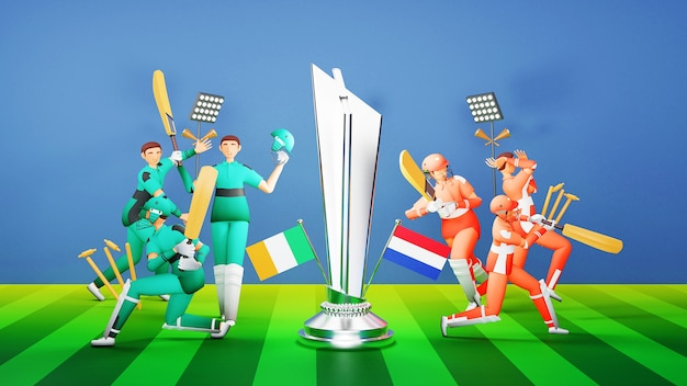 Deelnemende cricketteamspelers van ierland vs nederland met zilveren winnende trofee en toernooiuitrusting op blauwe en groene speelplaats. 3d-weergave.