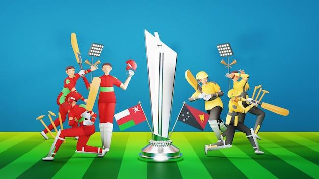 Deelnemende cricketteamspelers van oman vs papoea-nieuw-guinea met zilveren winnende trofee en toernooiuitrusting in 3d-stijl.