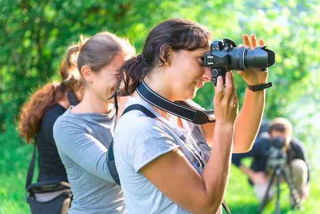 Deelnemers aan de fotografiecursus
