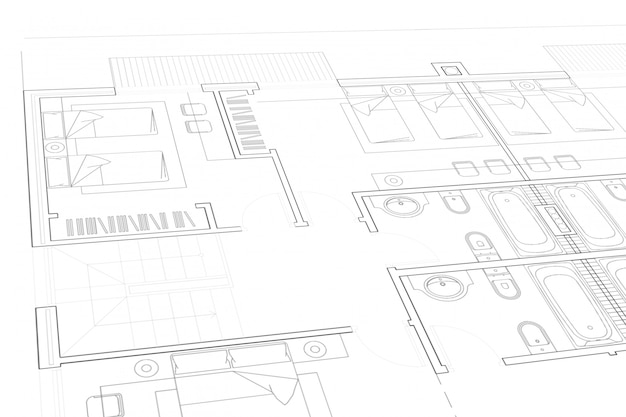 Deelplan van architecturaal project op het witboek