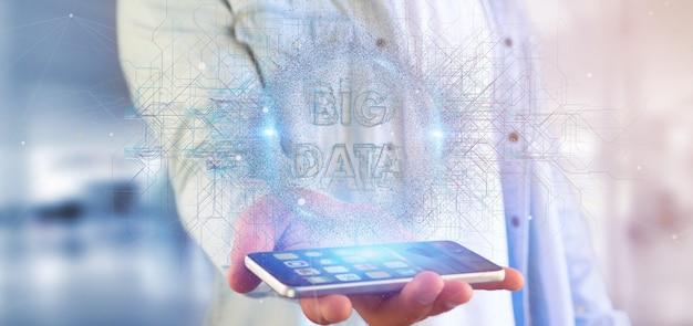 Deeltjes big data titel vasthouden door een man