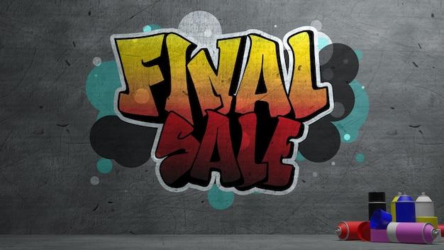 Definitieve verkoop graffiti op betonnen muur textuur stenen muur achtergrond. 3d-rendering